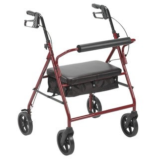 Drive Medical Bariatric Rollator with 8-inch Wheels (Red)