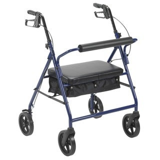 Drive Medical Bariatric Rollator with 8-inch Wheels (Blue)