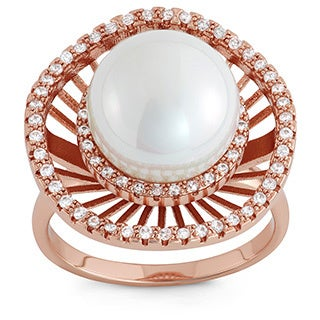 Gioelli Gold Overlay Faux Pearl and Cubic Zirconia Ring