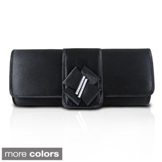 Jacki Design Elegant Satin Clutch with Bow Accent