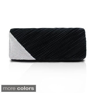 Jacki Design Draped Satin and Rhinestone Clutch