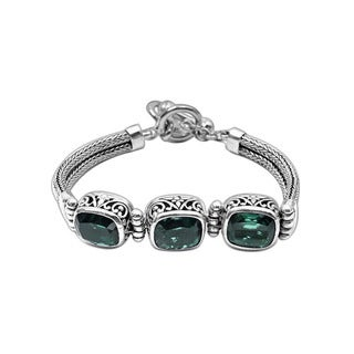 Handmade Sterling Silver Bali Green Quartz Rectangle Gemstone Cable Toggle Bracelet (Indonesia)