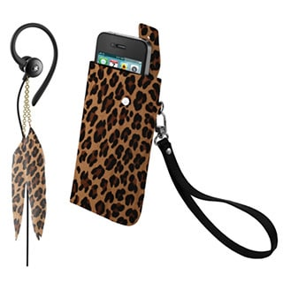 iHip Snooki Couture Brown Fashion Combo Pack (Feather Earphones and Universal Phone Case)