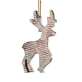 Sage & Co 15-inch Standing Carved Wood Reindeer Christmas Ornament (Pack of 2)