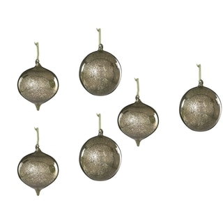 Sage & Co 6-inch Glass Onion And Ball Christmas Ornaments (Assosrtment of 2/ Pack of 6)
