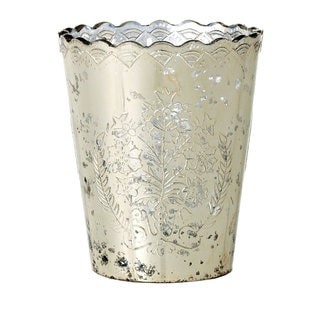 Sage & Co 5-inch Glass Heart Etched Pot