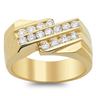 14k Yellow Gold Men's Diamond Ring 1 ct TDW (F-G, VS1-VS2)