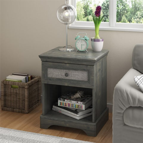 Avenue Greene Fairfield Rustic Brown Nightstand with Grey Fabric Insert