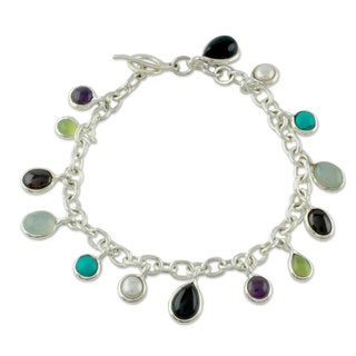 Silver 'Jaipur Enchantment' Pearl Gemstones Bracelet (6mm) (India)