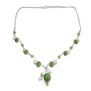 Handmade Sterling Silver Dew Blossom Peridot Y Curb Necklace (India)|https://ak1.ostkcdn.com/images/products/9648822/P16832108.jpg?impolicy=medium