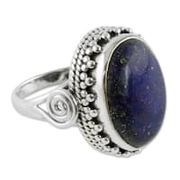 Handmade Sterling Silver Majestic Blue Lapis Lazuli Cocktail Cluster Style Ring (India)