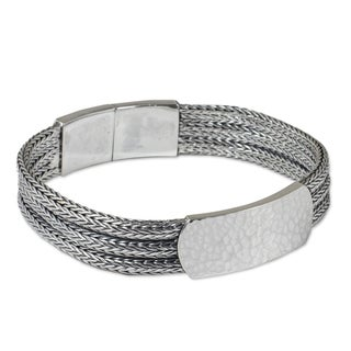Men's Handcrafted Sterling Silver 'Winter Wheat' Bracelet (Thailand)