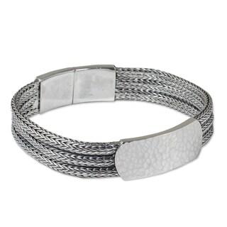 Men's Handmade Sterling Silver 'Winter Wheat' Bracelet (Thailand)