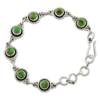 Sterling Silver 'Green With Beauty' Turquoise Link Bracelet (India)