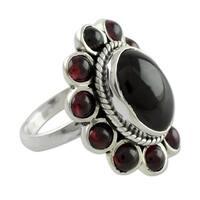 Handmade Sterling Silver 'Scarlet Petals' Garnet Ring (India)