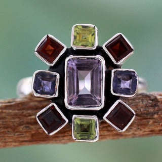 Handmade Sterling Silver 'Color Wheel' Amethyst Garnet Ring (India)
