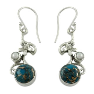 Handmade Sterling Silver 'Unique' Turquoise Earrings (India)