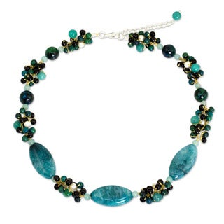 Pearl Green Lily Garland Multi Gemstone Choker Thailand