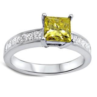 Noori 14k White Gold 1 2/5ct TDW Canary Yellow Princess Cut Diamond Engagement Ring (SI1/SI2)