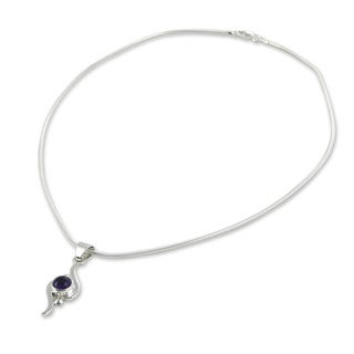 Handcrafted Sterling Silver 'Flow' Amethyst Necklace (Mexico)