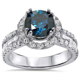 Noori 18k White Gold 2 1/5ct TDW Round Blue Diamond Engagement Ring