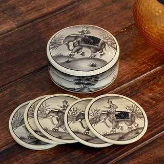 Set of 6 Handcrafted Papier Mache 'King of Dawn' Coasters (India)