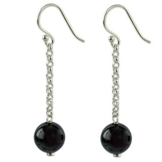 Sterling Silver 'Love Pendulums' Hematite Dangle Earrings (India)