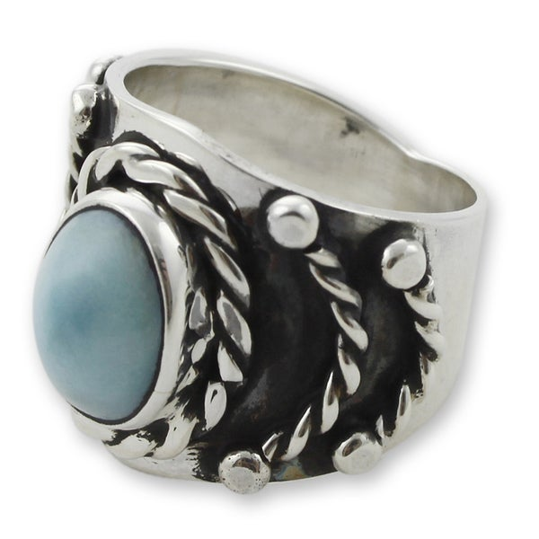 Handmade Men's Sterling Silver 'Protect' Turquoise Ring (Mexico)