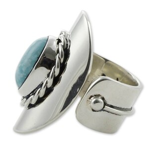 Handmade Sterling Silver 'Wisdom Of The Sky' Turquoise Wrap Ring (Mexico)