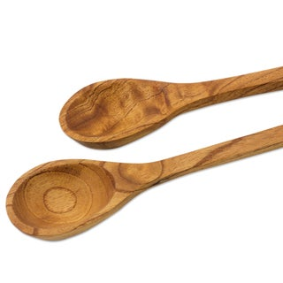 Set of 2 Cedar Wood 'Exquisite Nature' Serving Spoons (Guatemala)