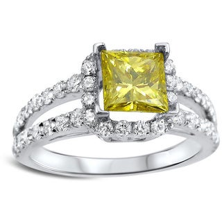 Noori 18k White Gold 1 1/2ct Canary Yellow Princess-cut Diamond Engagement Ring