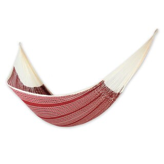 Handcrafted Cotton Nylon 'Burgundy Riviera' Hammock (Double) (Mexico)