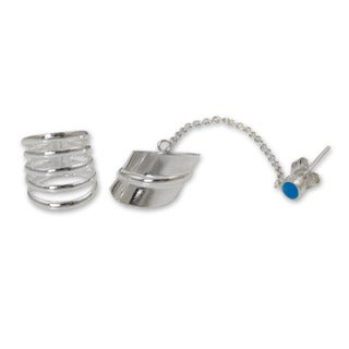 Handcrafted Sterling Silver 'Sea Whisper' Ear Cuff Earrings (Thailand)