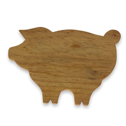 Handmade Pinewood 'Happy Pig' Cutting Board (Guatemala)
