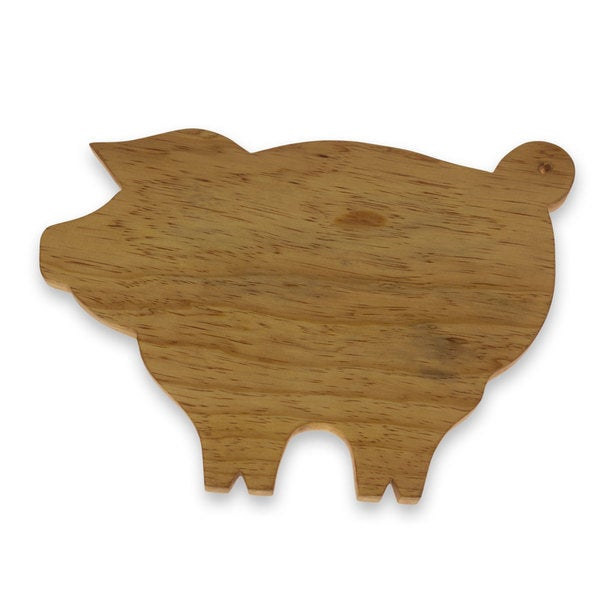 Handmade Pinewood 'Happy Pig' Cutting Board (Guatemala)