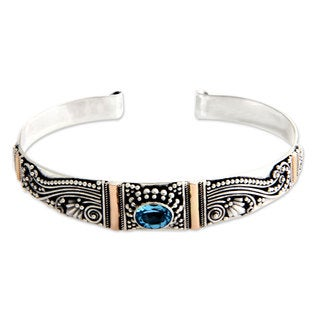 Gold Overlay 'Paradise' Blue Topaz Cuff Bracelet (Indonesia)
