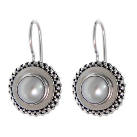 Handmade Cultured Pearl 'Moon Halo' Drop Earrings (Indonesia)