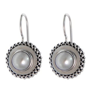 Handcrafted Cultured Pearl 'Moon Halo' Drop Earrings (Indonesia)