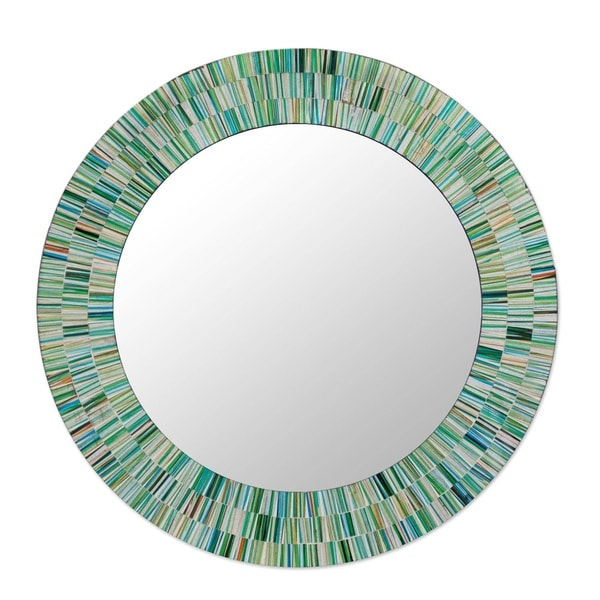 Aqua Fantasy Turquoise Green Brown And White Gl Tile Mosaic Decorator Accent Contemporary Round Wall Mirror