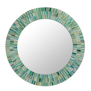 Aqua Fantasy Turquoise Green Brown and White Glass Tile Mosaic Decorator Accent Contemporary Round Wall Mirror (India)