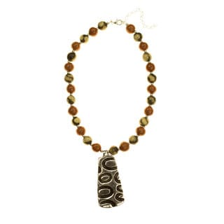 Handcrafted Ceramic 'Quelapa Ax' Beaded Necklace (Honduras)