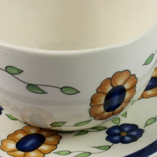 Handmade Set of 2 Ceramic 'Margarita' Cups and Saucers (Guatemala)