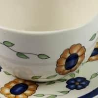 Handmade Set of 2 Ceramic 'Margarita' Cups and Saucers (Guatemala)