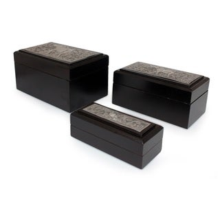 Handmade Set of 3 Raintree Wood Nickel 'Siamese Elephant' Boxes (Thailand)