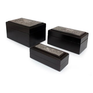 Set of 3 Raintree Wood Nickel 'Siamese Elephant' Boxes (Thailand)