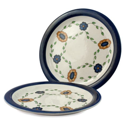 Handmade Set of 2 Ceramic 'Margarita Blue' Dinner Plates (Guatemala)