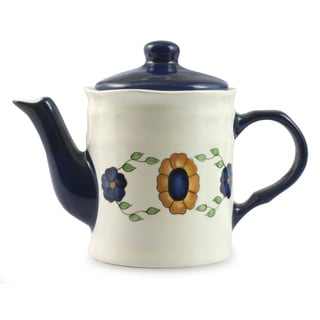 Handcrafted Ceramic 'Margarita Blue' Tea Pot (Guatemala)