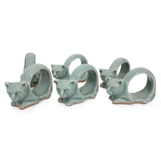Handmade Set of 6 Celadon Ceramic 'Siamese Cat' Napkin Rings (Thailand)