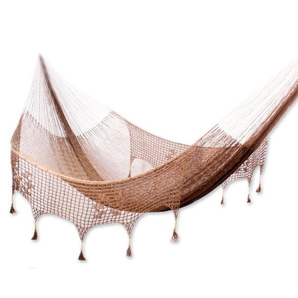 Handmade Nylon Pinewood 'Copper Filigree' Hammock (Double) (Mexico)