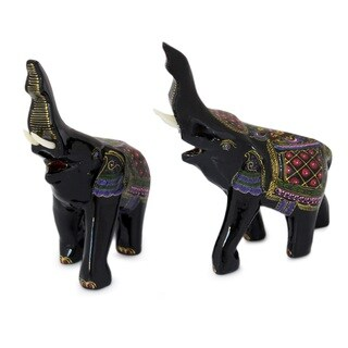 Handmade Set of 2 Lacquered Wood 'Happy Elephants' Figurines (Thailand)